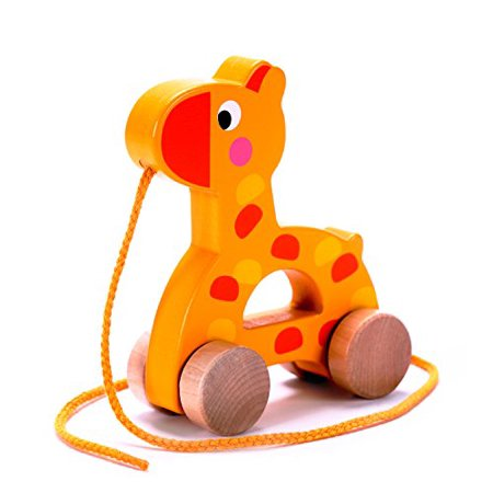 Adorable Giraffe Wooden Pull Along Toy for Toddlers Boy & Girl, Rolls Easy, Sturdy String Attached (Toms Toddler Boys)