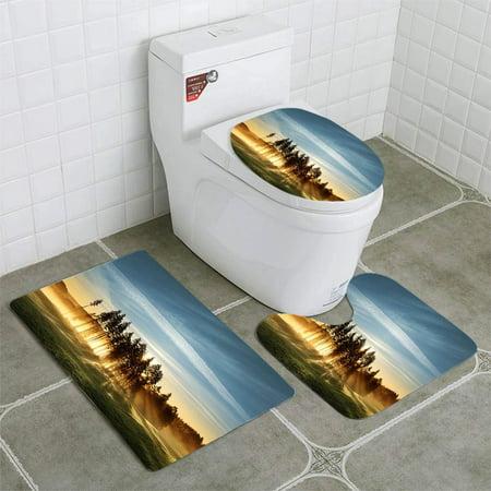 GOHAO Magic Light on Golf Course 3 Piece Bathroom Rugs Set Bath Rug Contour Mat and Toilet Lid -