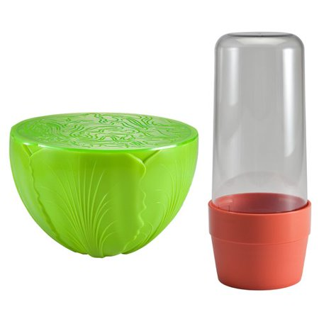 Rebrilliant 2 Piece Herb and Salad Saver Food Storage Container Set