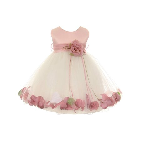 Petal Dress Flower Girl (Kids Dream Baby Girls Ivory Rose Top Satin Petal Floating Flower Girl Dress)