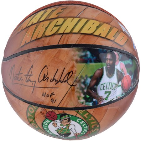 Nate Archibald Boston Celtics Autographed Photo Size 4 Basketball with Multiple Inscriptions - Fanatics Authentic Certified (Signed Autographed Photo Basketball)