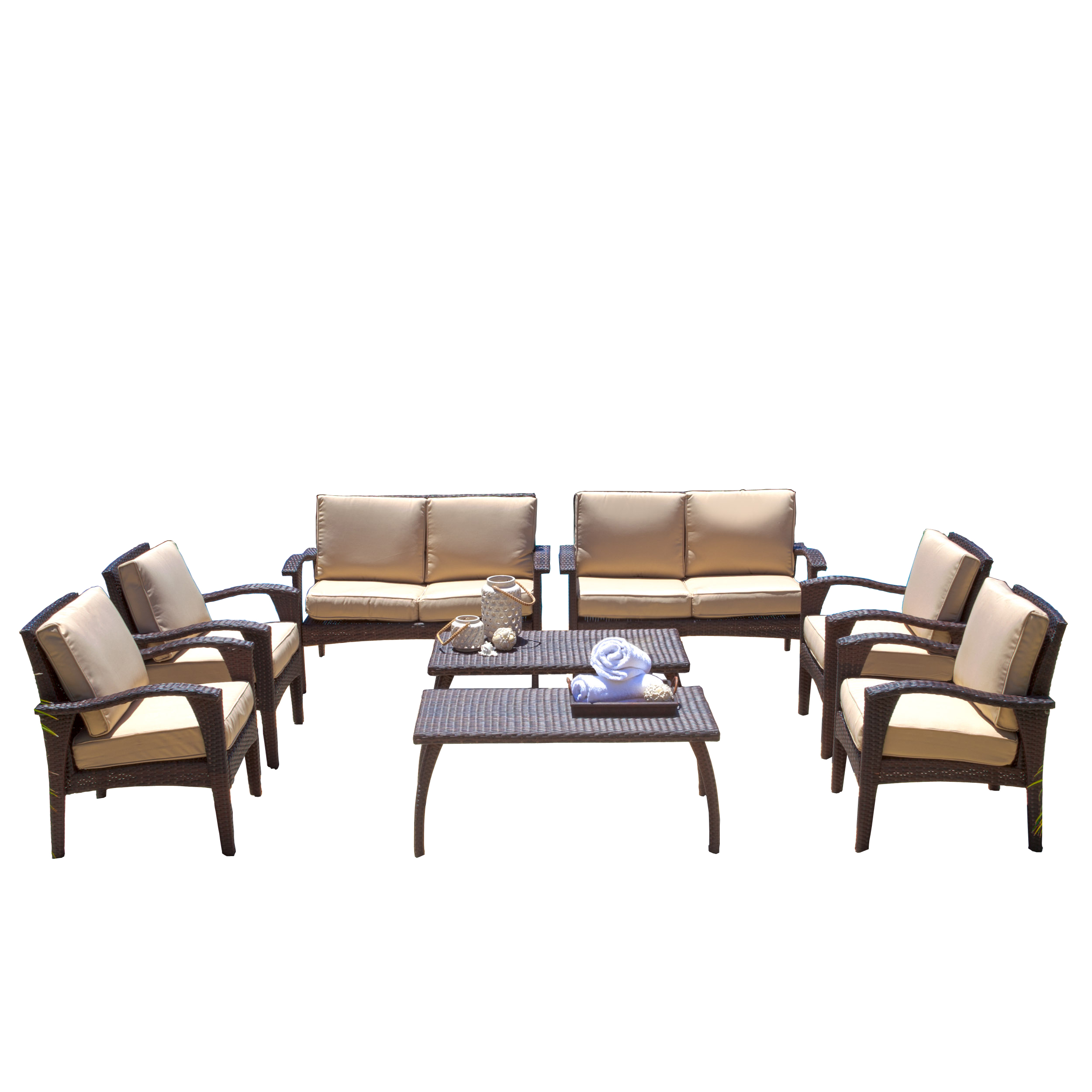 Amos Outdoor 8pc Brown Wicker Seating Set & Cushions by GDF Studio