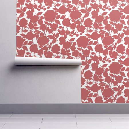 Silhouette Floral Wallpaper - Removable Water-Activated Wallpaper Red Roses Silhouette Floral Spring Summer