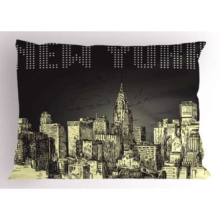 New York Pillow Sham Grunge Pop Art Style Retro NYC Sky with Iconic Empire States Building City Print, Decorative Standard Size Printed Pillowcase, 26 X 20 Inches, Grey Yellow, by Ambesonne for $<!---->