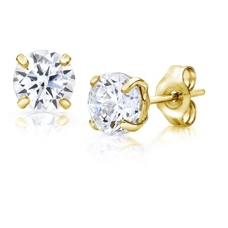 Jewelers 14K Gold 5MM Round-Cut Stud Earrings made with Crystals Swarovski BOXED (Gold Crystal Earrings Studs)