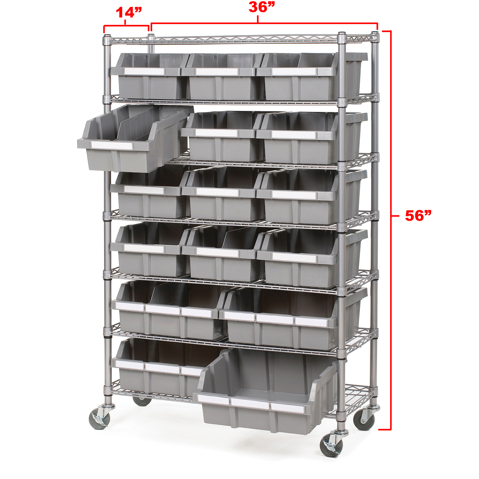 Seville Classics Commercial 7-Shelf 16-Bin Rack, SHE16510BX