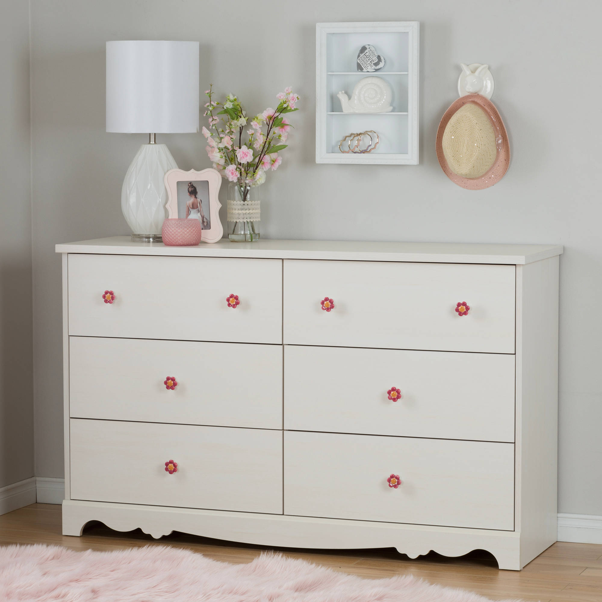 South Shore Lily Rose 6-Drawer Double Dresser, White Wash