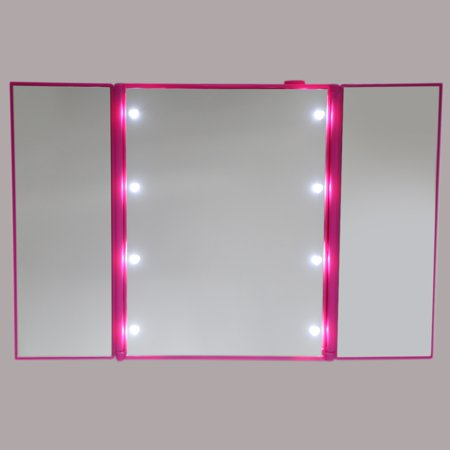 Adjustable Three Folding Table LED Lamp Luminous Makeup Mirror 8 Leds Makeup Mirror with Led Lights for Girls Pink