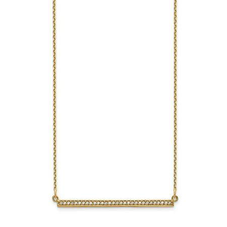 14K Yellow Gold Dainty Designs Diamond Bar Necklace