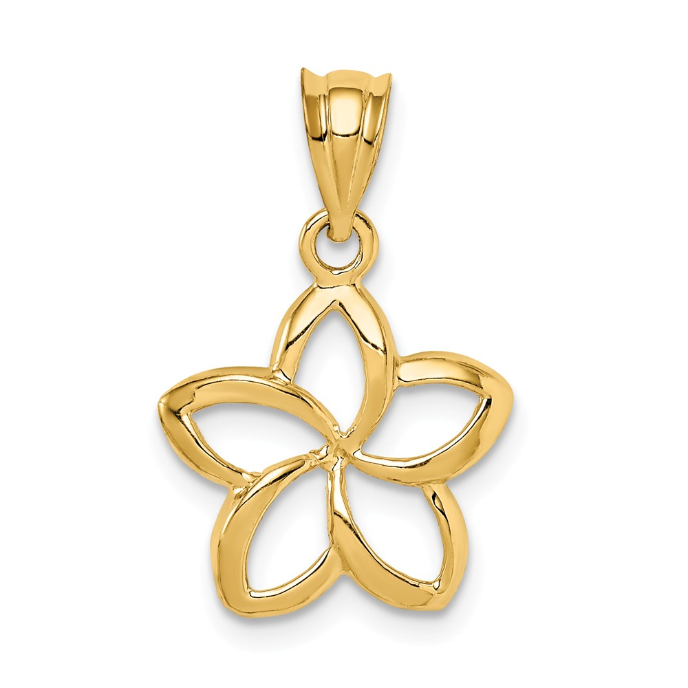 14k Yellow Gold Polished Small Cut-out Plumeria Pendant