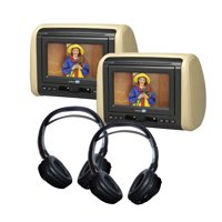 "(2) 7"" DVD Headrest Monitor Systems with (2) Headphones"