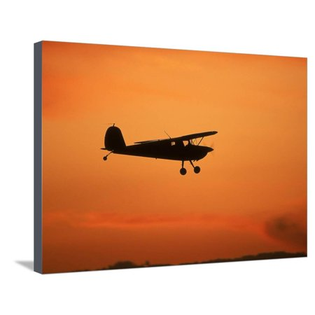 Silhouette of Small Airplane in Flight Stretched Canvas Print Wall Art By Kyle (Kyle Wall Fixture)