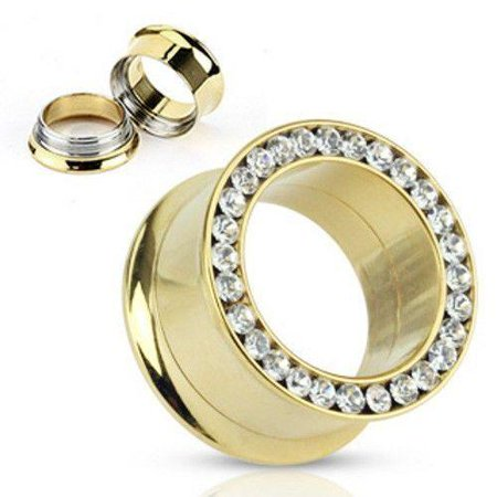 Double Flare Hollow Tunnels (Ear Gauges Plugs Gold Plated Screw Ft double FLare Tunnel With Clear gems )