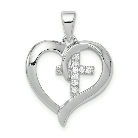 925 Sterling Silver Heart Cubic Zirconia Cz Cross Religious Pendant Charm Necklace Gifts For Women For Her