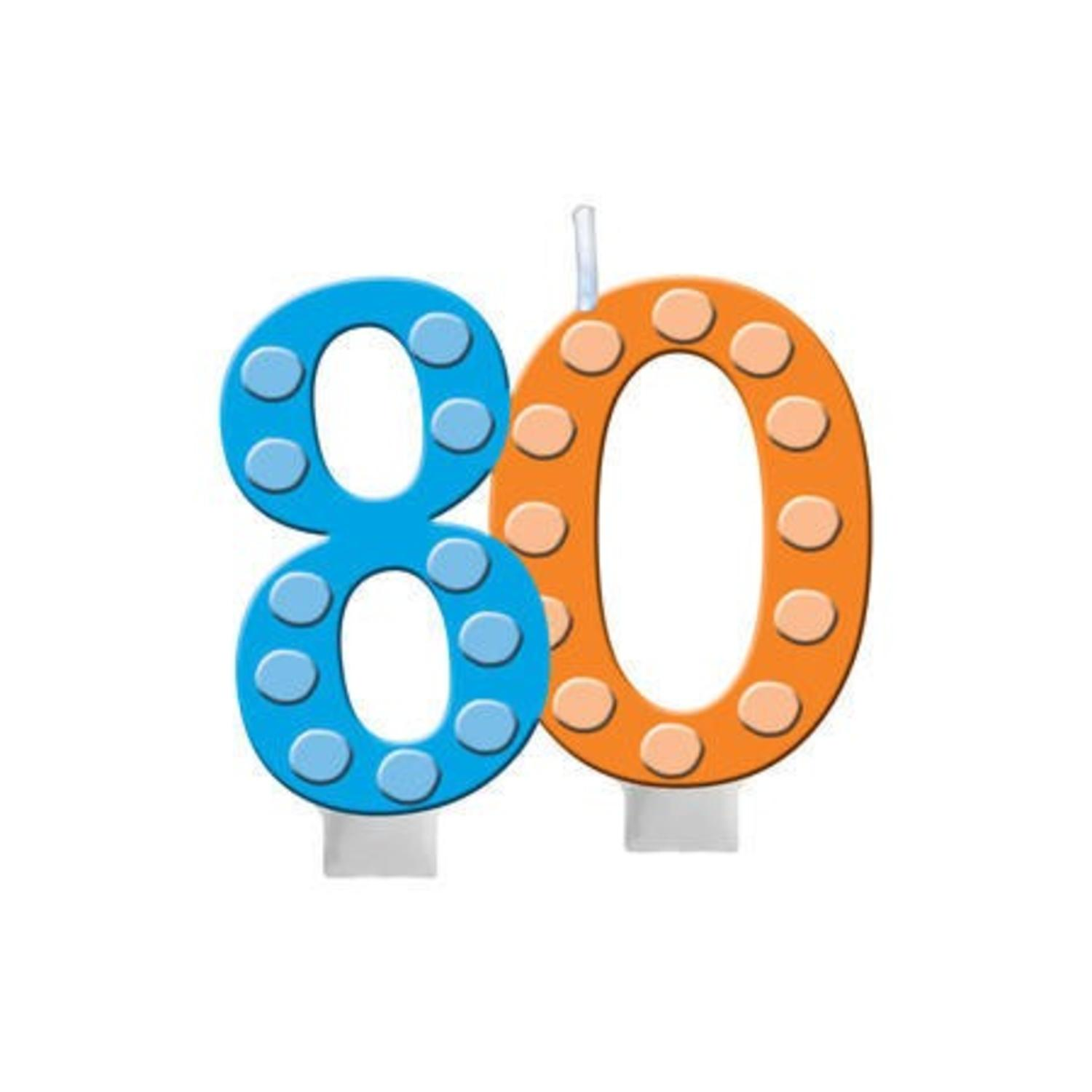 """Club Pack of 12 Bright and Bold 80th Molded Numeral party candle with Balloons 3.5"""""""
