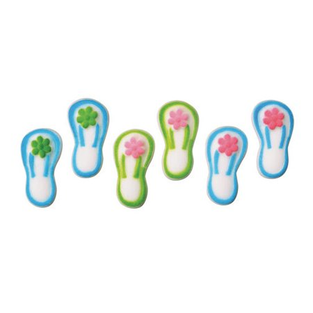 Flip Flop Sugar Decorations Toppers Cupcake Cake Cookies Birthday Favors Party 12 Count ()