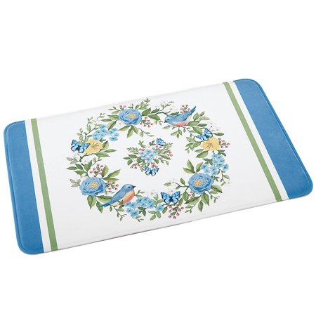 Bluebird Floral Wreath Cushioned Bath Mat with Skid-Resistant Backing