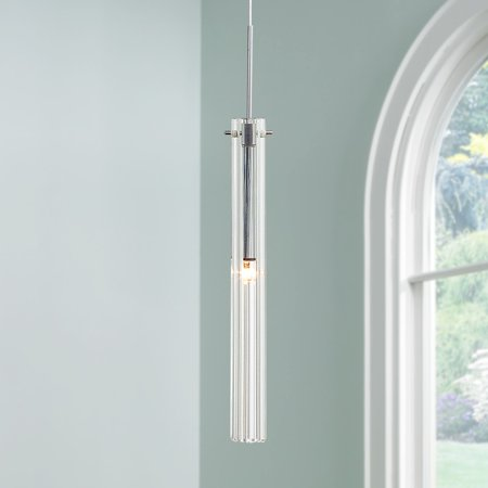 - Possini Euro Design Clear Glass Tube Mini Pendant Light