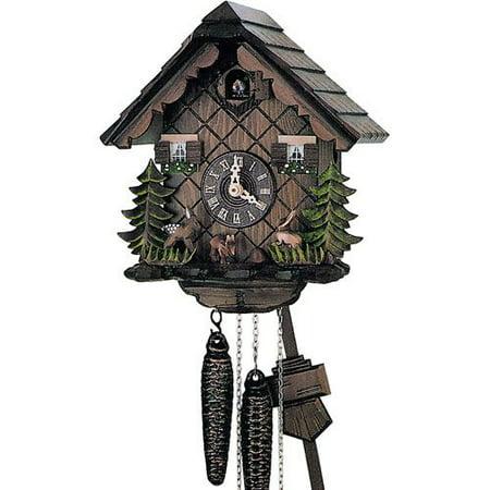 Cuckoo Clock 1 Day Chalet - Schneider 10 Inch Deer and Bunnies Black Forest Cuckoo Clock