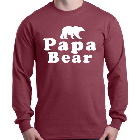Shop4Ever Men's Papa Bear Father's Day Gift for Dad Long Sleeve Shirt ()