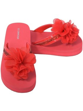 1baaf5c29 Product Image Red Sequin Strap Flower Flip Flop Sandals Little Girls 11-4.  L Amour