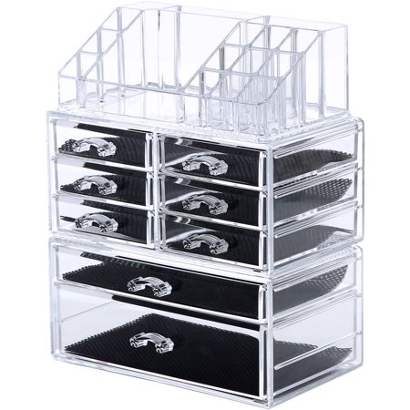 Songmics Makeup Organizer Cosmetic Storage Display Boxes Jewelry Chest -Piece Set