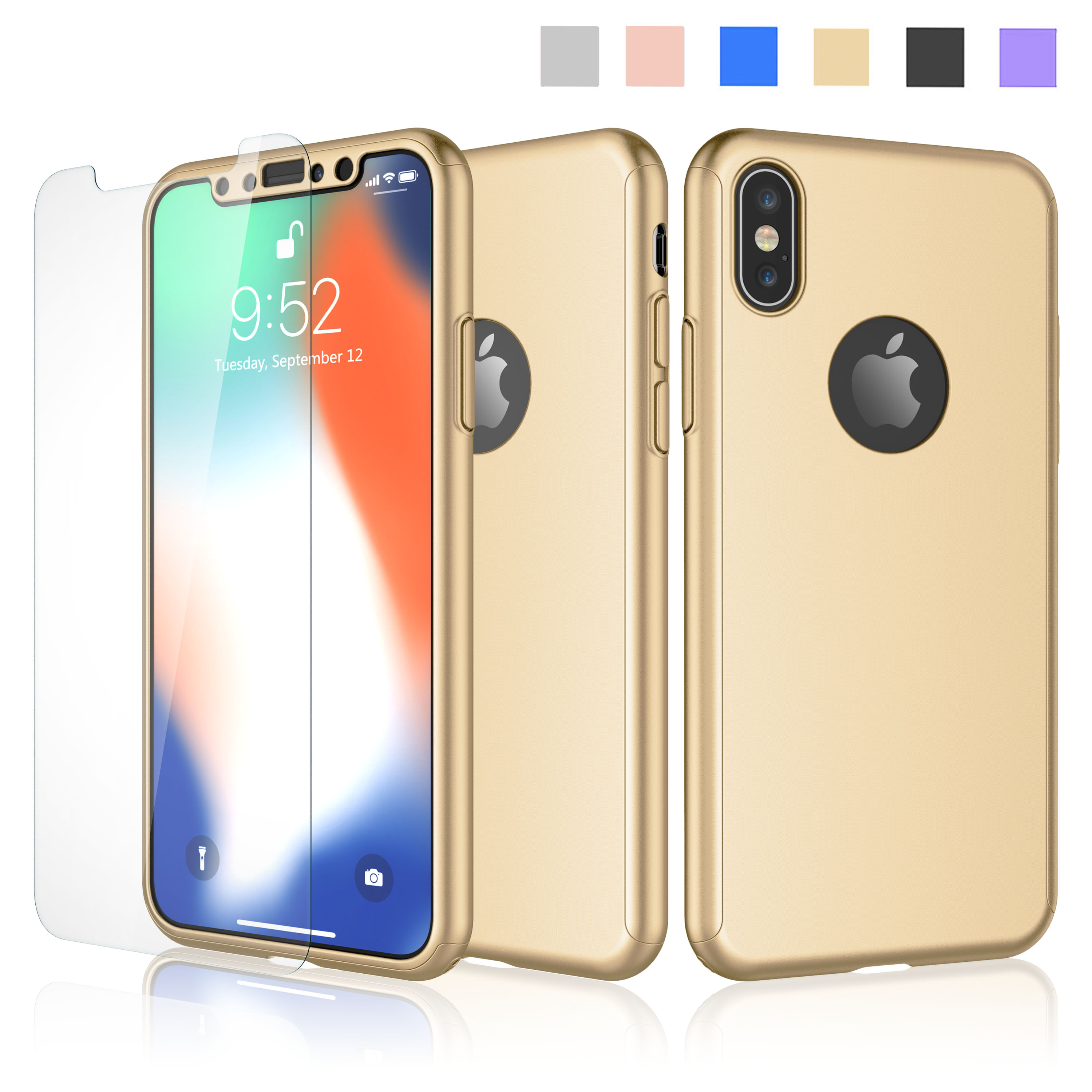 iPhone X Case, iPhone X Case Cover, Njjex 360 Degree Full Protective Slim Hrad Case with Tempered Glass Screen Protector For Apple iPhone X -Gold
