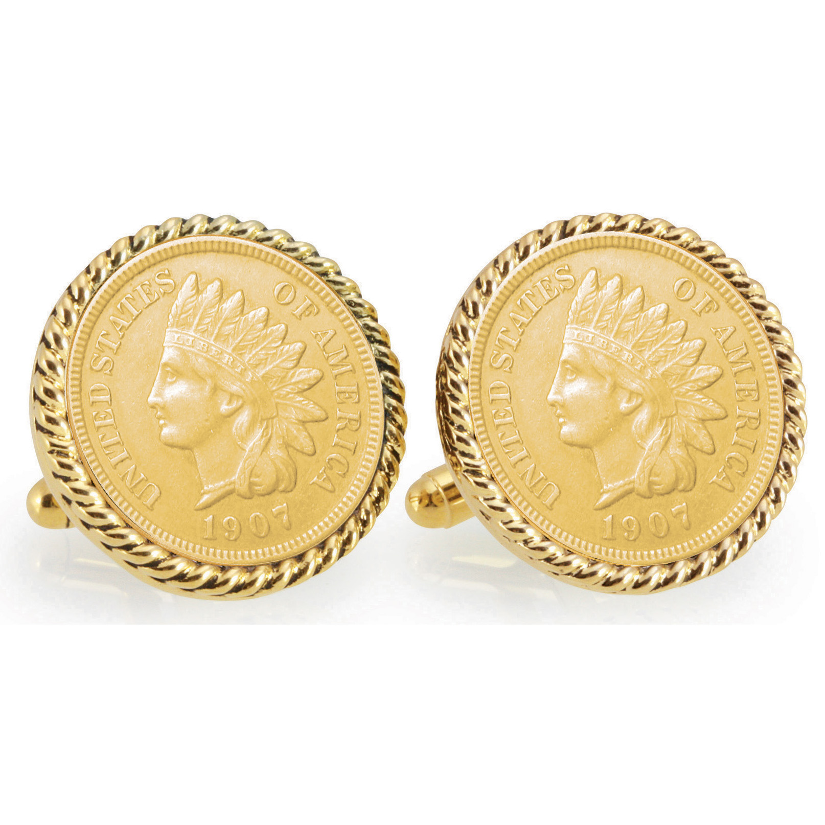 Gold-Layered Indian Head Penny Goldtone Rope Bezel Coin Cuff Links