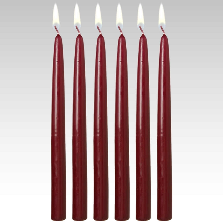 "10"" Burgundy Taper Candles (Set of 12)"