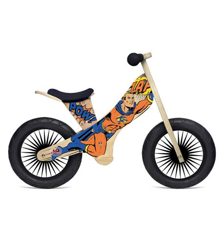 Kinderfeets Retro Wooden Balance Bike, Superhero