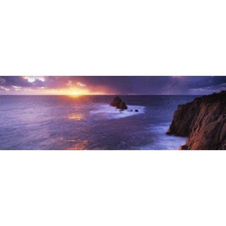 Sunset over the sea Lands End Cornwall England Canvas Art - Panoramic Images (18 x 6) (Lands End 6 Piece)