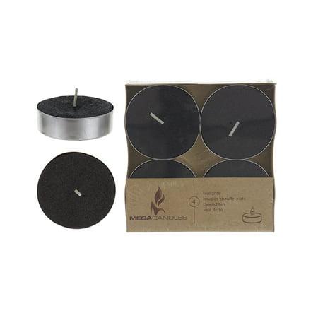 Mega Candles - Unscented Mega Tea Light Candles - Black, Set of 4 ()