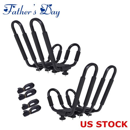 Universal 2 pairs J-Bar Kayak Roof Rack Carrier Canoe Boat Surf Ski Roof Top Mount Car SUV Crossbar+ Waterproof