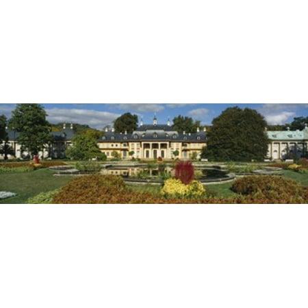 Formal garden in front of a castle Pillnitz Castle Dresden Germany Poster Print