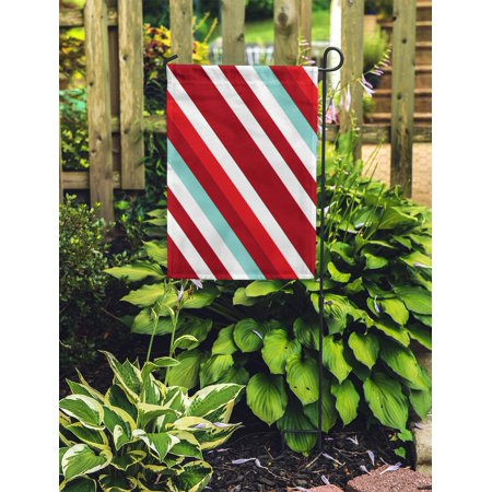 NUDECOR Christmas Traditional Colors Straight Diagonal Thin Line Abstract Striped Garden Flag Decorative Flag House Banner 28x40 inch - image 2 de 2