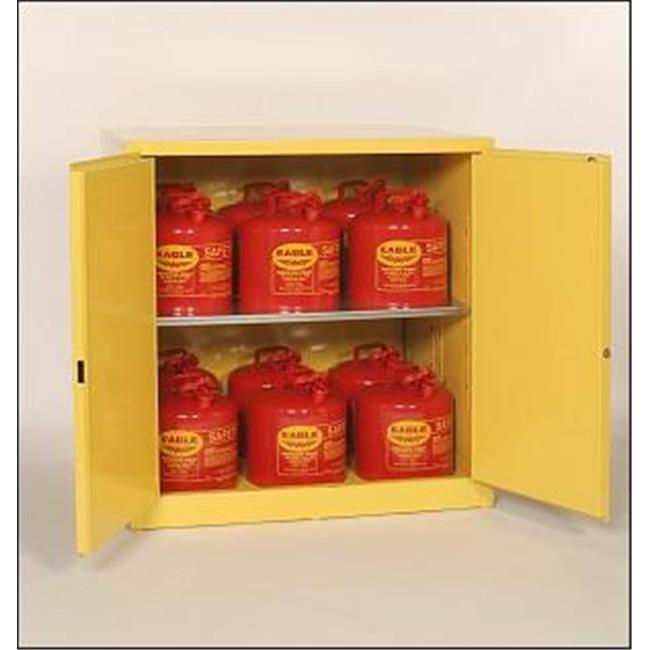 Eagle 6110 Flammable Liquid Storage Cabinets   Yellow One Door Cabinet  Self Close Two Shelves