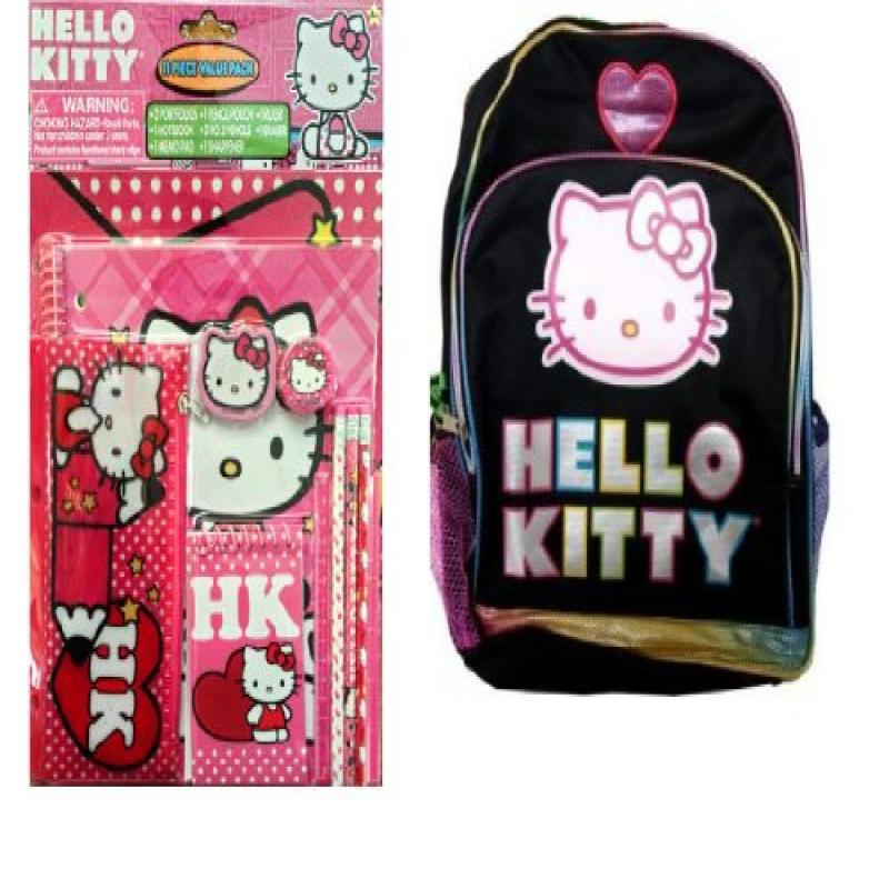 Hello Kitty 11 Piece Value Pack with Hello Kitty Backpack by