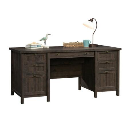 Sauder Costa Executive Desk, Coffee Oak Finish