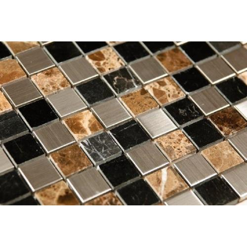 Nanjing In-Art Co. Sepia Stainless Steel and Stone Mix 12 x 12 Mosaic Tiles (Box of 11)