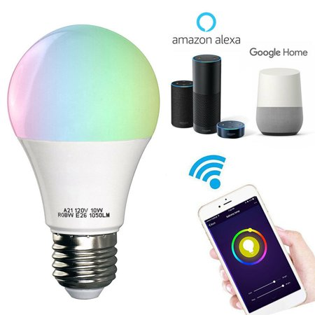 WiFi Smart LED Light Bulb - Works with Alexa-Smartphone Controlled Multicolored Color...