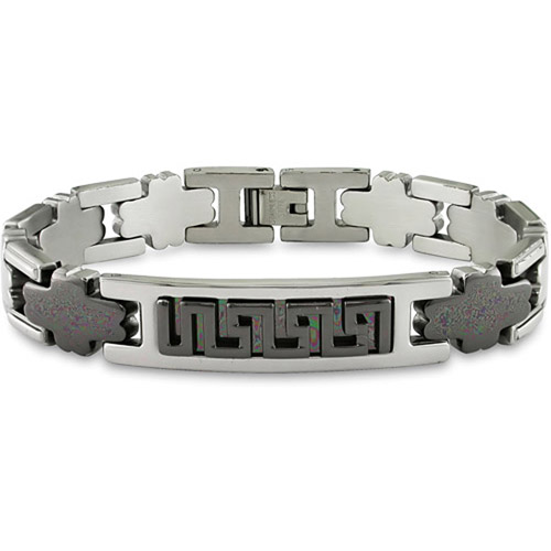 Stainless Steel Men's Bracelet with Black Plating, 8.5""