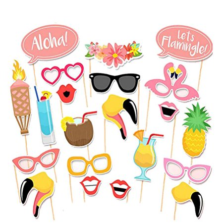 BESTOYARD Photo Booth Props Hawaii Luau Summer Party Wedding Birthday Party Photo Booth Props Kit Party Favors 21pcs