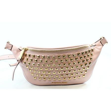 9af5114ba1ef Michael Kors - Michael Kors NEW Pink Gold Leather Rhea Zip Studded Belt  Satchel Bag - Walmart.com