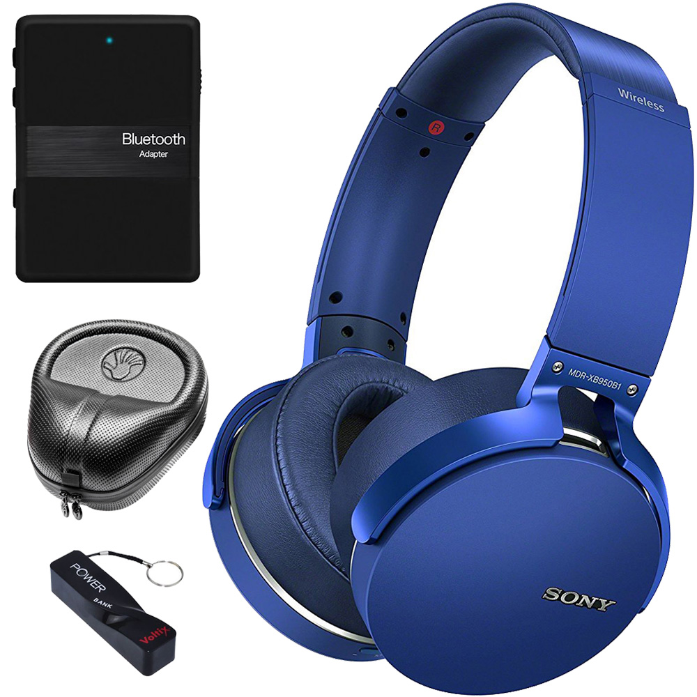Sony XB950B1 Extra Bass Wireless Headphones with App Control, Blue (2017 model) Audio Accessory Kit