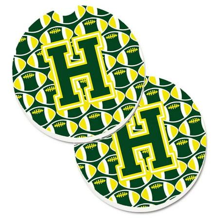 Letter H Football Green & White Set of 2 Cup Holder Car Coaster - image 1 de 1