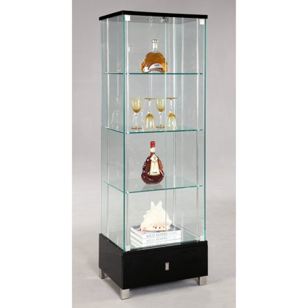 Chintaly London Glass Curio Cabinet – Black