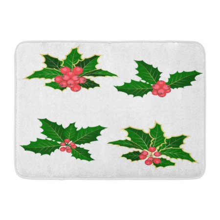 GODPOK American Green Berry Christmas Symbol Holly Branch Berries White Red Abstract Celebration Rug Doormat Bath Mat 23.6x15.7 inch ()