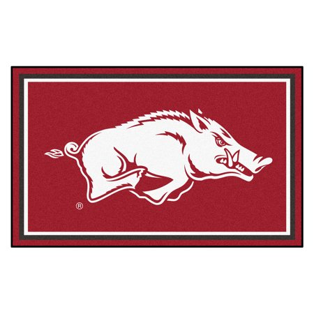 6615 Fanmats College NCAA University of Arkansas 44 Inch x 71 Inch Non-skid Nylon carpet Face Chromojet printed 4x6 Plush Rug