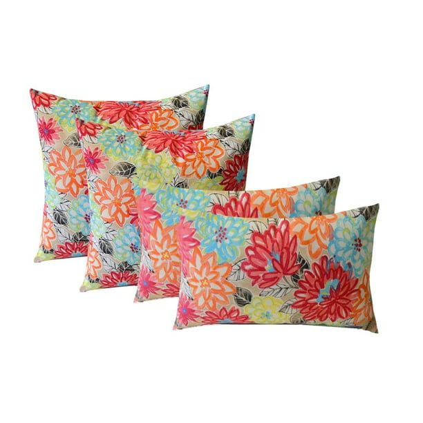 Rsh Décor Indoor Outdoor Set Of 4 Square Throw Pillows Weather Resistant 17 X 17 And 20 X 12 Pink Yellow Orange Blue Artistic Floral Walmart Com Walmart Com