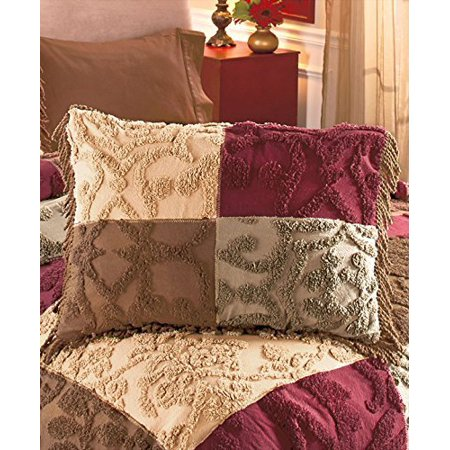 Chenille Patchwork Pillow Sham (Jewel), Cotton By The Lakeside Collection From USA